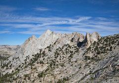 Rock Climbing Photo: Echo Peaks from southeast: Peak 4 on left, highest...