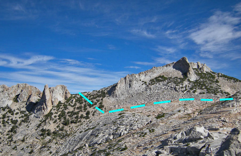 north to approach hike from Wilts Col along north side of Echo Peaks east group then below south of Echo Ridge.