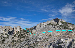 Rock Climbing Photo: north to approach hike from Wilts Col along north ...