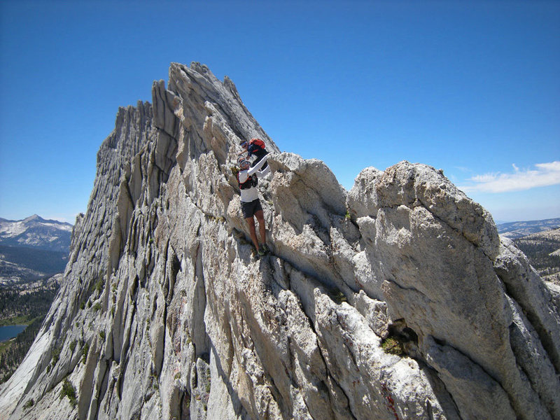 north-bound climber entering (optional) overhanging hand-traverse section