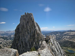 Rock Climbing Photo: ahead to N summit with near climber in sun at righ...