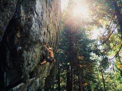 "Rock Climbing Photo: Evan Urton working ""Radio Static"""
