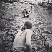 Rock Climbing Photo: From 2013 A 5.7 5.8 mixed trad/sport route.  I wil...