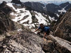 "Rock Climbing Photo: On the last ""stegasaurus"" pitch."
