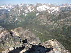 Rock Climbing Photo: Hwy. 20 and the Blue Lake parking area from the to...