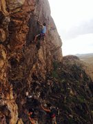 Rock Climbing Photo: Me about to clip the third bolt on a super nice da...