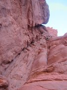 Rock Climbing Photo: Me almost to the end of the chossy third pitch. Th...