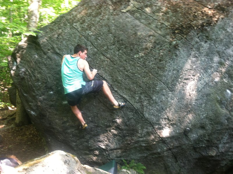 Rock Climbing Photo: Setting up for the balance/rock over move to the s...