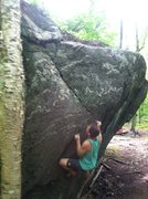 Rock Climbing Photo: Setting up for the stab to the flared slot