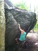 Rock Climbing Photo: Sticking the flared slot, with a ratty finger lock