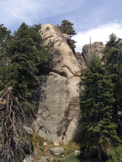 Siberia Creek Tower (SW Face) as seen from the Siberia Creek Trail, Big Bear South<br>