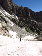 Rock Climbing Photo: Middle Teton glacier, just above Meadows toward So...