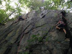 Rock Climbing Photo: Art stems wide at Grand Finale's crux.  Carol (rig...