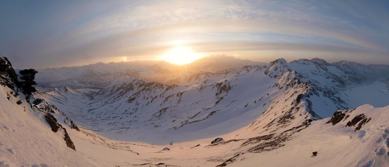 Sunset and sun dogs over the Hayes Range from the Michael Creek Headwall.