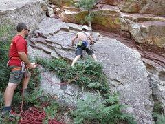 Rock Climbing Photo: Scruffy start of P1.