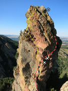 Rock Climbing Photo: Red is East Face. Yellow is West Side (Story).  No...