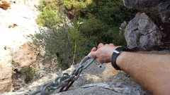 Rock Climbing Photo: A good rappel station that can take you straight t...