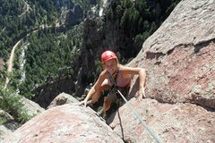 Rock Climbing Photo: Brenda tops out on Swanson Arete.