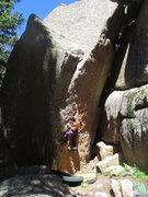 Rock Climbing Photo: Closer to sundown, sun on the boulder.
