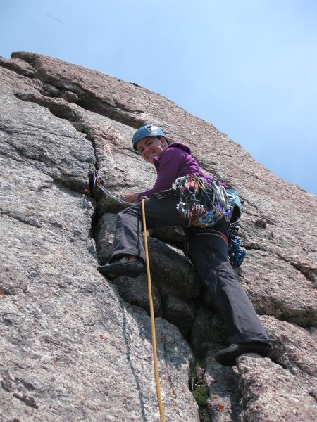 First roped pitch as we climbed it.  Slings around boulder on huge ledge atop this short pitch for an anchor.