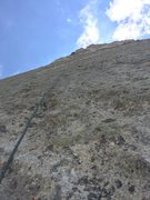 Rock Climbing Photo: Derrick above the question clipping the bolt. As p...