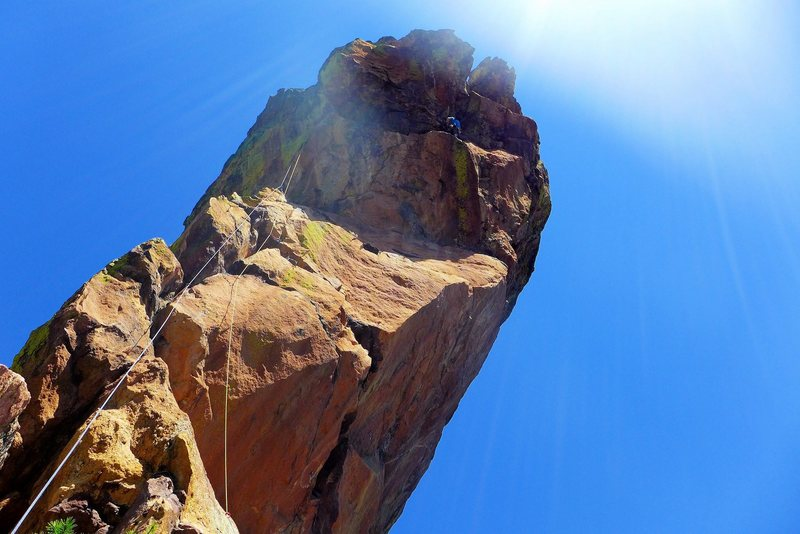 Rock Climbing Photo: At the crux wishing I used longer slings on the tr...