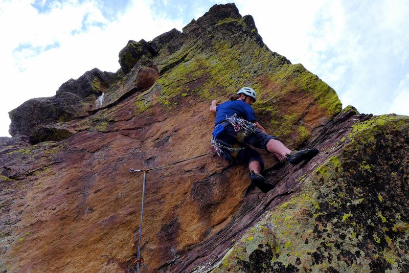 Kuba navigating through some tricky climbing on pitch 3, Aug. 2014.
