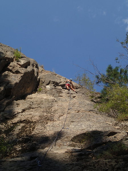 Rock Climbing Photo: Colleen high on Cat Nip.