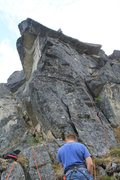Rock Climbing Photo: Tim belaying Bill on the last pitch just before re...