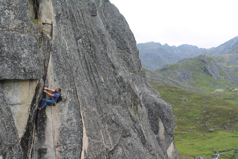 Rock Climbing Photo: Tim following True Grit with the pack.