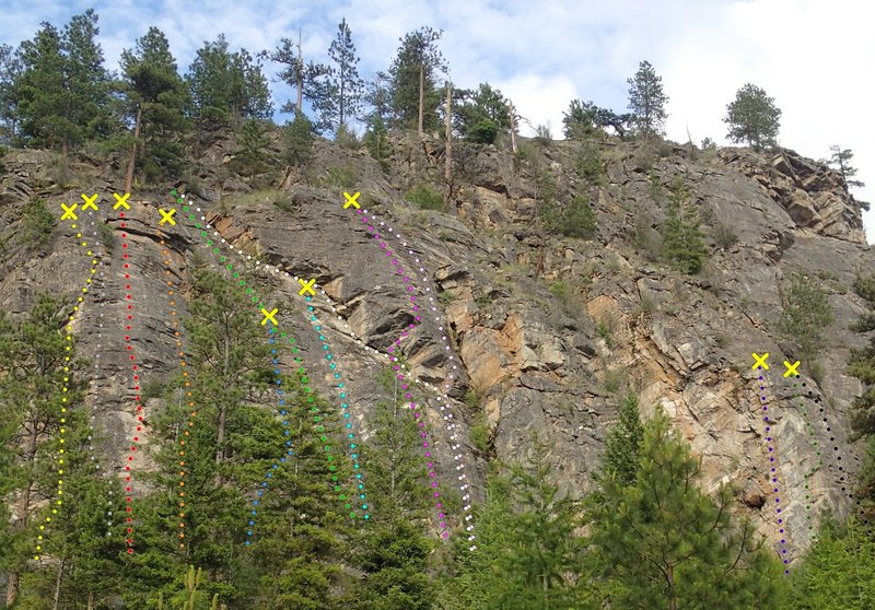 Rock Climbing Photo: Western Front - Upper Wall topo - from the west