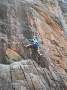 Rock Climbing Photo: Garrett Gillest ripping it up at age 8, first clea...