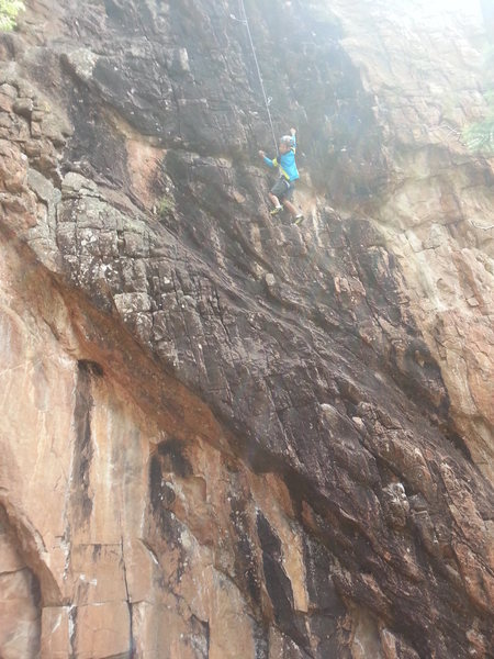 Garrett Gillest, age 8, loving the climbing at Staunton.