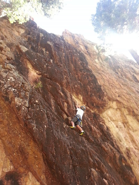 Rock Climbing Photo: Garrett Gillest, age 8, loving the climbing at Sta...