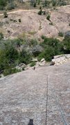 Rock Climbing Photo: Looking down from first belay station, follower ha...