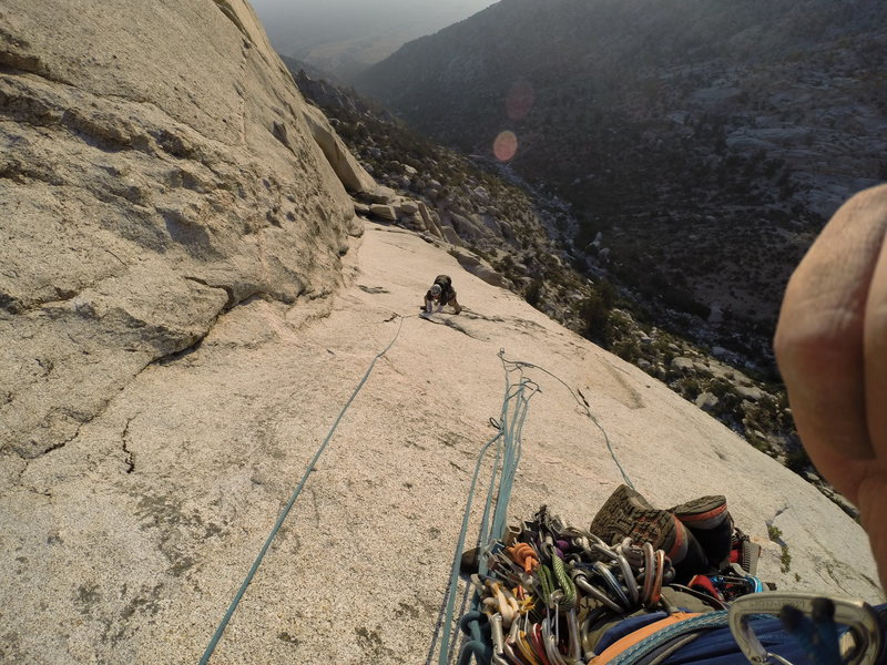 Rock Climbing Photo: Following on the slabs of pitch 2