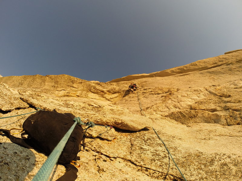 Leading through roofs on pitch 3