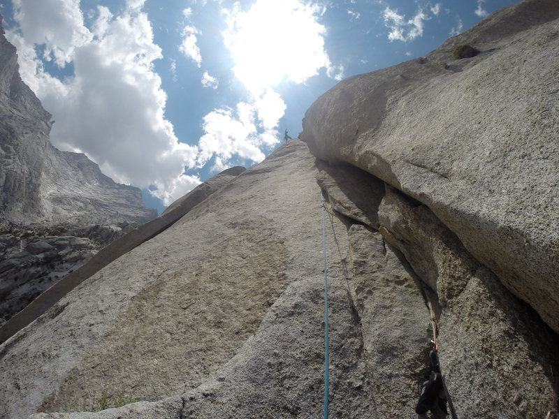 Joshua Reinig in the clouds high on crux pitch 8: the calm before the storm...