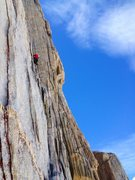 Rock Climbing Photo: Peter Pribik leading the beautiful & steep P3 dihe...