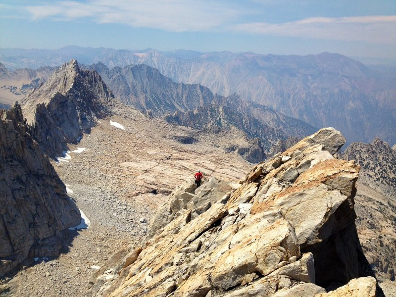 Peter Pribik on the long ridge en route to the summit of the Dragtooth.