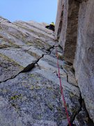 Rock Climbing Photo: Peter Pribik leading the awesome 5.7 finish pitch ...
