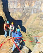 Rock Climbing Photo: Absail down 670 ft. waterfall in Lesotho (Africa)