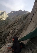 Rock Climbing Photo: Improvised bivy from the storm half way through pi...