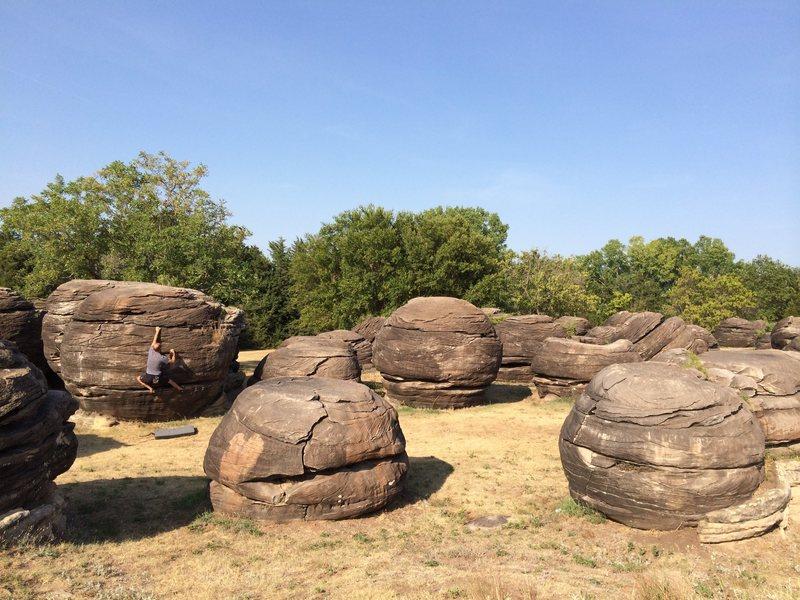 Ray Weber bouldering at Rock City, Kansas...
