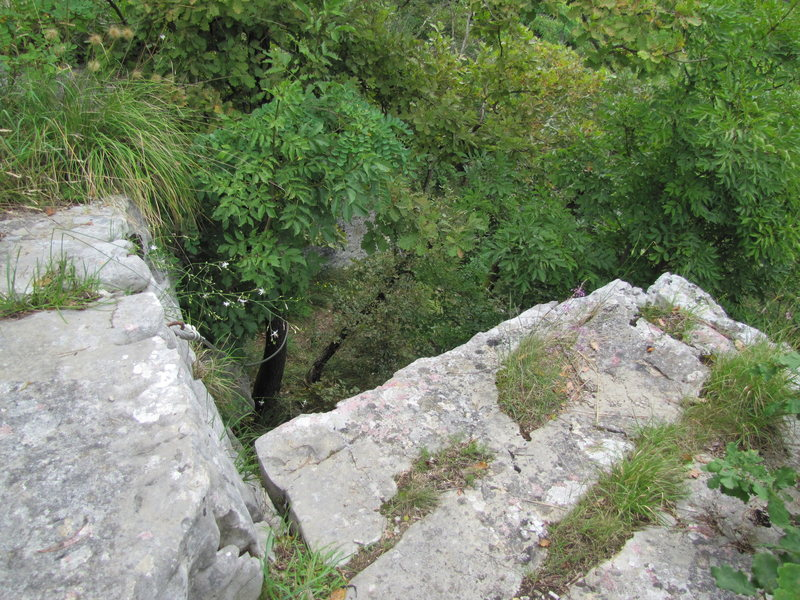 Rock Climbing Photo: Here's where the cable is located. Go down here to...