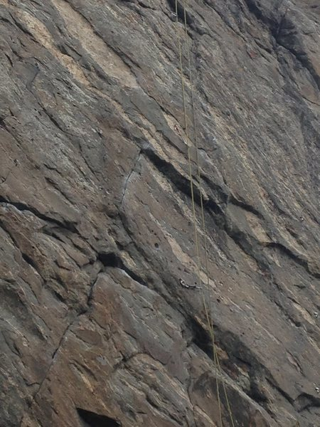 The upper crux sequence (bolts 6-8).
