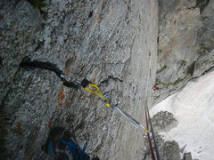 Rock Climbing Photo: Looking down the entire crux 3rd pitch
