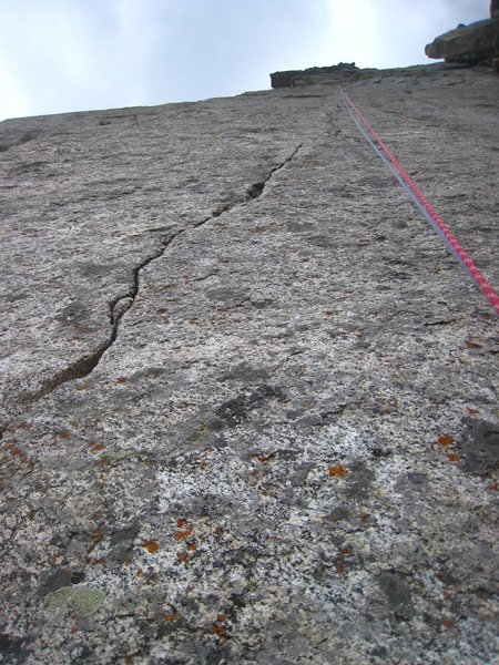 Pitch 3 - 35 meters of fingers and the crux of the route.
