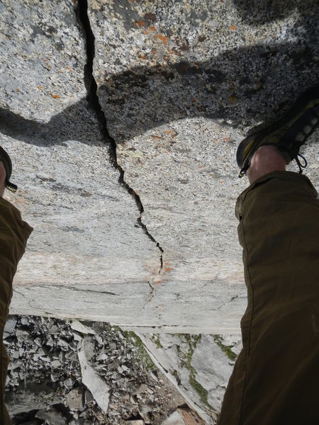 Looking down the pitch 3 finger crack.