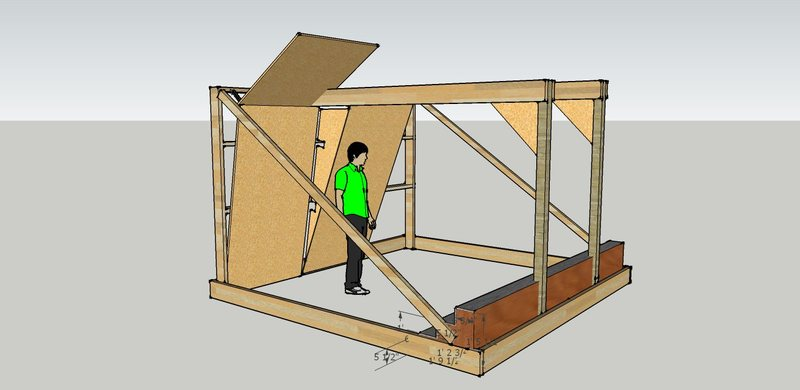 Left Front Quarter View. Those are 2 x 8s around the base and a 16' 2 x 4 as the long support pole.